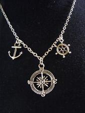 Boussole, Ancre Marine, Wheel, Amulette Collier Chaîne Avec Pendentif, Surf