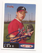 JUNG BONG  2002 TOPPS TOTAL #494 AUTOGRAPHED CARD, BRAVES !!
