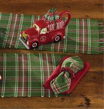 wintergreen napkin set2 green red white plaid cotton farmhouse christmas - Christmas Napkins Cloth