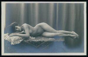 French nude woman sleeping beauty original early 1900s photo RPPC postcard