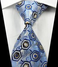 New Classic Pattern Blue Brown Silver JACQUARD WOVEN 100% Silk Men's Tie Necktie