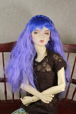 "1/4 7-8"" BJD DOLL WIG MSD PURPLE BLUE BRAID BANGS HAIR LUTS DOLLFIE JR-117 USA"