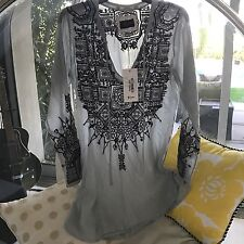 Boho Babes! LOOK! Johnny Was Biya Luminous Embroidered Blouse XS  S NWT