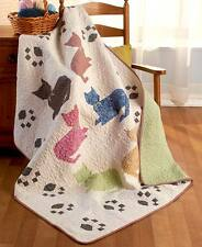 Quilted Meow Cat Paw Print Throw Blanket 50 x 60 Lightweight Bedding Pet Lover