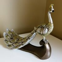Peacock Figurine Decor new Ornament Resin Gold Glitter Table Home Accents New