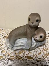 Homco 1981 Masterpiece Porcelain Momma Seal and Pup Figurine