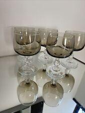 Vintage Set of 5 Smoked Glass Wine Glasses 5fl oz