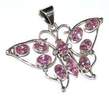 Pink Kunzite (LAB) 925 Sterling Silver Pendant Jewelry JJ2153