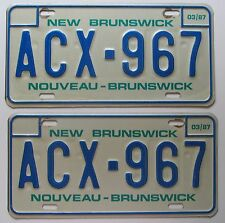 New Brunswick 1987 License Plate PAIR - HIGH QUALITY # ACX-967