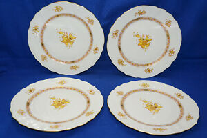 """Herend Chinese Bouquet Yellow (4) Dinner Plates, 10 1/4"""""""