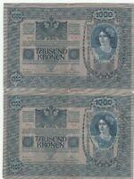 Austria 1000 Kronen Kroner 1902 Banknotes Papermoney Lot of 2