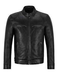 Men's Leather Jacket Black GENUINE LEATHER SLIM FIT Top BIKER JACKET 3815