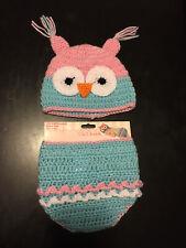 So Dorable Infant Owl Hand Crochet Set Baby Girls Newborn 0-6 Months