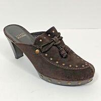 Stuart Weitzman Women's Shoes Size 8 M Brown Suede Mules Slip On Studded Tassels