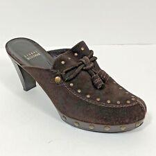 Stuart Weitzman Women's Mules Shoes Size 8 M Brown Suede Slip On Studded Tassels