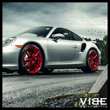 """20"""" ROHANA RF2 RED FORGED CONCAVE WHEELS RIMS FITS PORSCHE 997 911 4S TURBO"""
