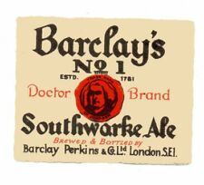 OLD BEER LABEL/S -  UK -  BARCLAY'S - SOUTHWARKE ALE  (A) - SQ. CORNERS