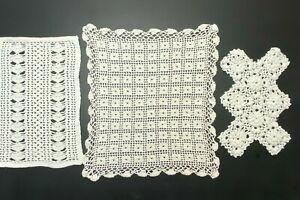 3 Vintage Handmade Crochet Doilies Dresser Scarves White Rectangle #101