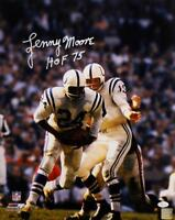 Lenny Moore Autographed Colts 16x20 PF Handoff with Ball Photo w/ HOF-JSA W Auth