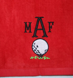 Personalized Monogrammed Sports, Golf Towel Groomsmen RED Color