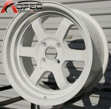 "ROTA GRID-V 15X8 +0 WHITE 4X100 FIT CIVIC MIATA INTEGRA WILD BODY WHEEL 3"" LIP"