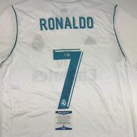 Autographed/Signed CRISTIANO RONALDO Real Madrid White Jersey Beckett BAS COA