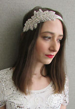 Ivory White & Silver Diamante Headband Bridal Great Gatsby Flapper 1920s Vtg Y97