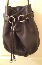 FOSSIL BLACK LEATHER CINCH TOP DRAWSTRING BUCKET BAG