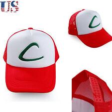 US Fashion Pokemon Ash Ketchum Cosplay Adjustable Mesh Hat Free White Red Cap