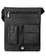 Visconti 18410 Genuine Leather Messenger Bag Shoulder Handbag Large Black