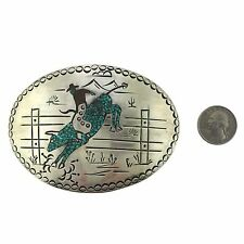 Sterling Silver Chip Inlay Turquoise Coral Hand Stamped Cowboy Bull Belt Buckle