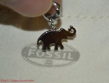 Fossil Brand Silver Tone Stainless Steel Elephant Charm Bracelet JF02035040 NEW