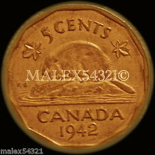 CANADA RARE 1942 TOMBAC GEORGE VI 5 CENTS NICKEL