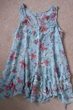 WALLIS BLUE FLORAL BUTTERFLY SEE THROUGH FRILL TUNIC TOP SIZE MEDIUM