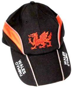 New Wales Cymru Adjustable Size Black Golf Fishing Welsh Dragon Baseball Cap