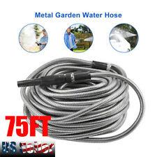 75ft Stainless Steel Metal Garden Hose Water Pipe Flexible Lightweight