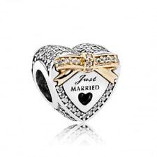 Pandora S925 /14ky 792083cz Just Married Wedding heart slide charm NWOT