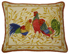 """16"""" x 20"""" Wool Needlepoint Anne Hathaway's Design Pillow with 3 Roosters"""