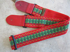 Henry Heller Guitar Strap VINTAGE RED GREEN Woven Tapestry Hippie HV-11