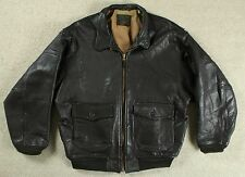 VTG AVIREX LTD US NAVY TYPE G-1 LEATHER FLIGHT BOMBER JACKET USN L/XL