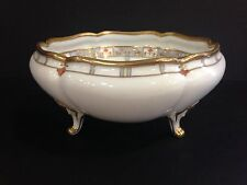 Gorgeous Nippon Hand Painted Footed Bowl Gilt Raised Beading