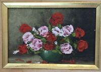 A Mid Century Miniature Original Floral Textured Oil On Board  Signed & Framed