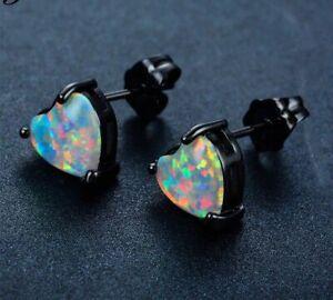 Beautiful Black Gold Filled White Fire Opal Heart Shaped Stud Earrings 7mm
