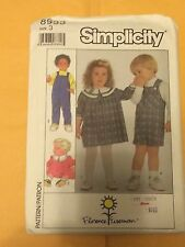 Simplicity Pattern 8933 Toddlers Dress and Overalls Size 3