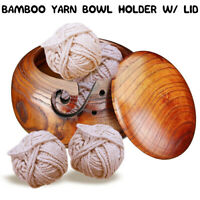 1PC Wooden Yarn Bowl Holder Skeins Knitting Crochet Thread Storage Box with  Lid