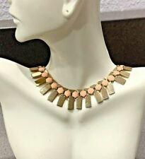 Metal Fishbone Gold-Tone Statement Necklace Peach Epoxy