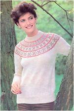 """Ladies' DK Fair Isle Yoke Sweater Large Sizes 40"""" - 50"""" Vintage Knitting Pattern"""