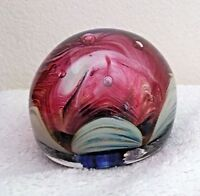 WV American Art Glass Hand Blown Red, White Bubble Paperweight 3 inch diameter