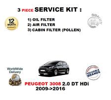 Pour peugeot 3008 2.0 hdi dw 10 cct 4 2009 - > 2016 filtres de service kit 3 pièces