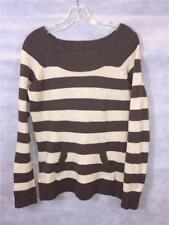Junior's Size XL (15/17) Brown Striped Pullover Crew Neck Sweater